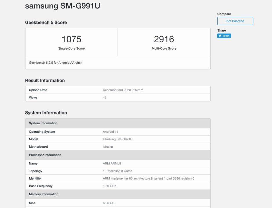 Samsung Galaxy S21 benchmark